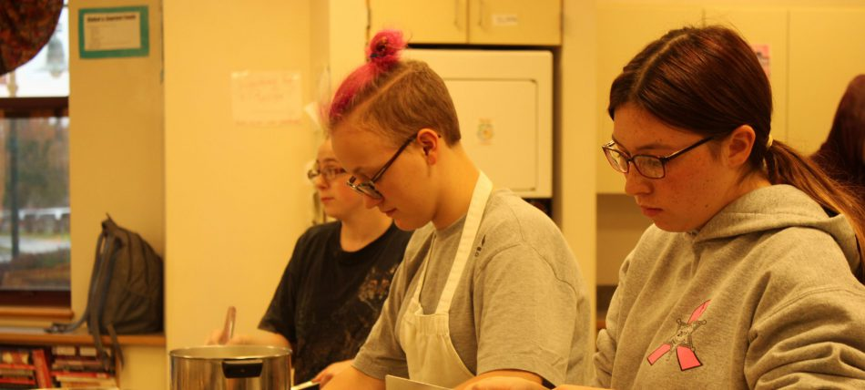 high school students cooking