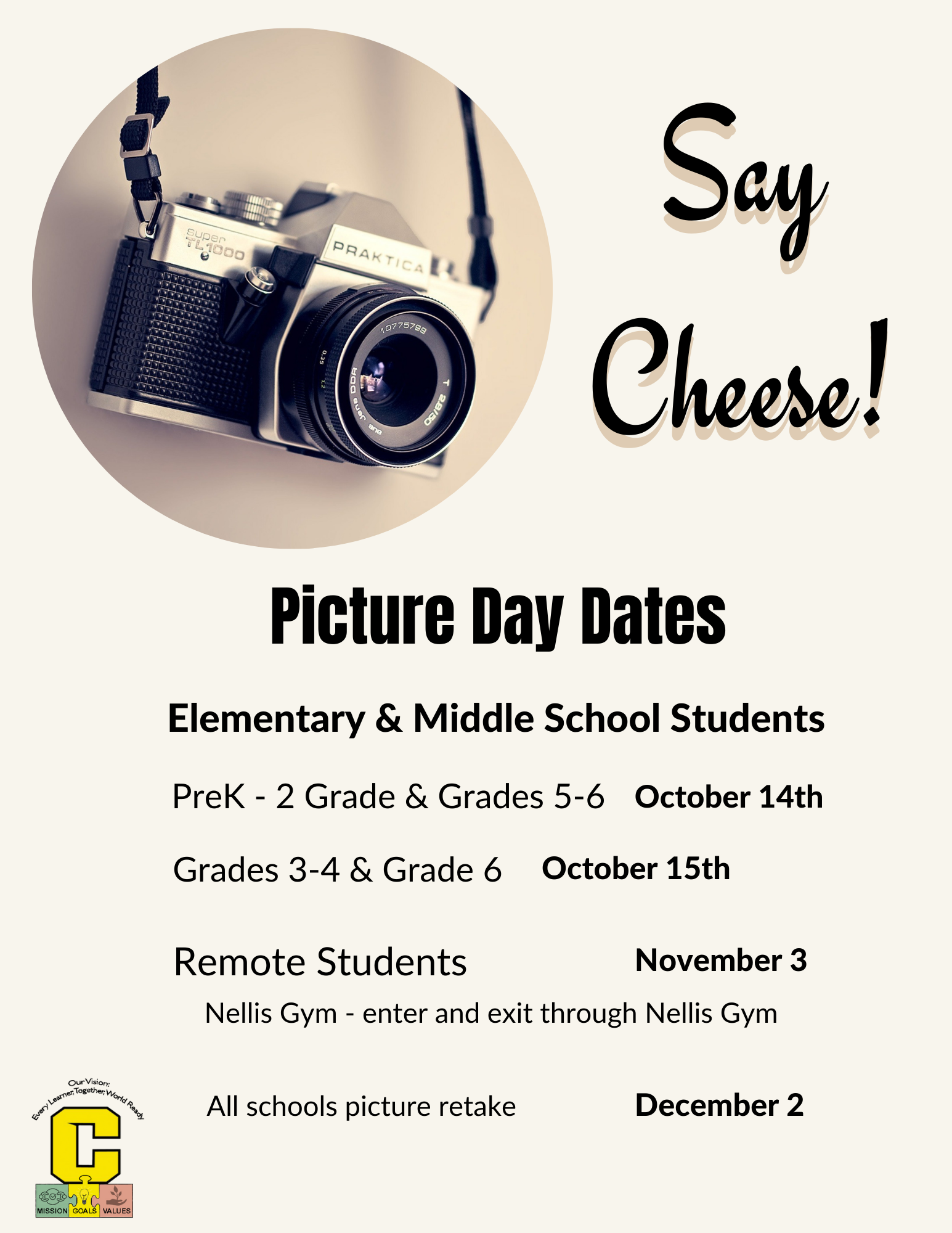 picture day dates for prek-6 grade